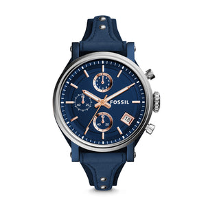 Fossil ES4113 Boyfriend Sport Blue Leather Band Silver Bezel
