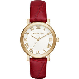 Michael Kors MK2618 Norie Gold Red Embossed Leather Band White Dial