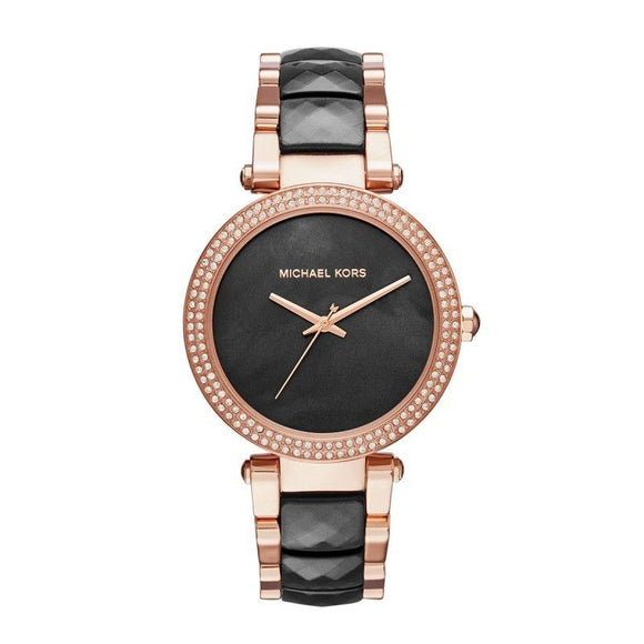 Michael Kors MK6414 Parker Rose Gold Black Acetate MOP Dial