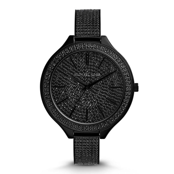 Michael Kors MK3318 Slim Runway IP Black Full Pave Glitz