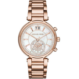 Michael Kors MK6282 Sawyer Rose Gold Glitz MOP Dial Stainless Steel