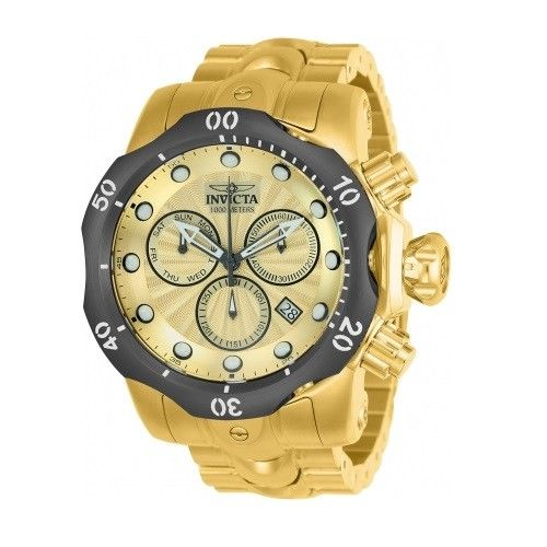Invicta 23894 Venom Gold Gray Bezel Chrono Stainless Steel