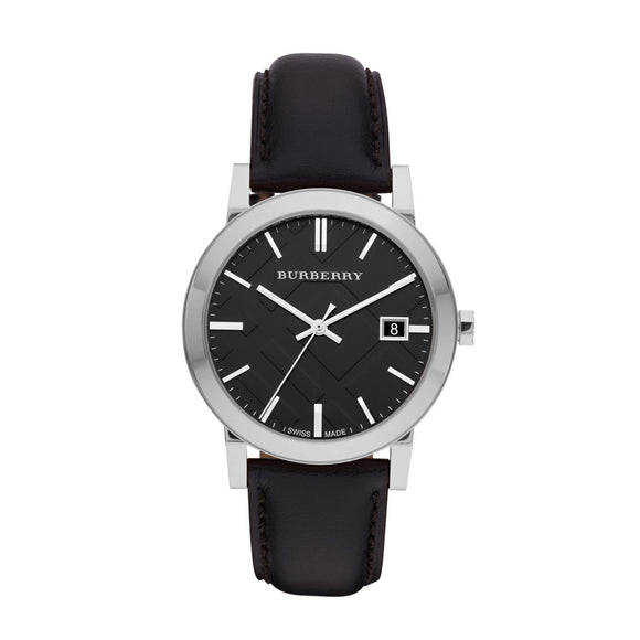 Burberry BU9009 The City Black Leather Strap Watch Mens
