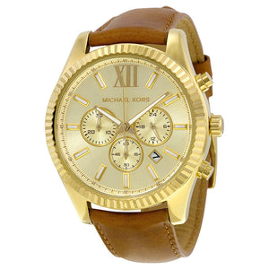 Michael Kors MK8447 Gold Lexington Leather Band Brown