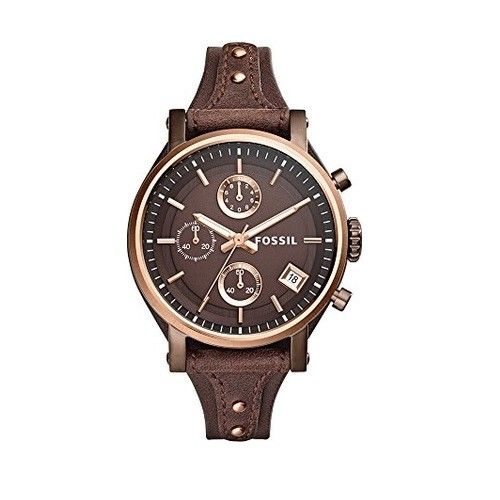 Fossil ES4286 Boyfriend Brown Leather Band Rose Gold Bezel