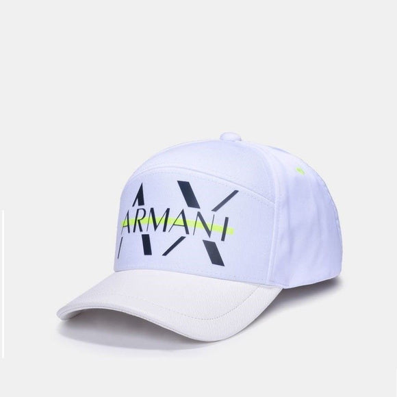 ARMANI EXCHANGE White Black Neon A|X Logo Adjustable Hat