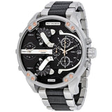 Diesel DZ7349 Mr Big Daddy 2.0 Silver Black Leather Quad Time Stainless