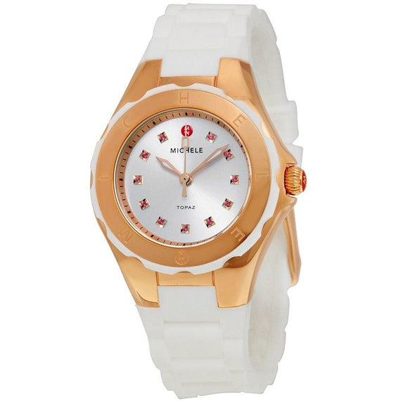 Michele MWW12P000003 Tahitian Jelly Bean Rose Gold White Silicone Band