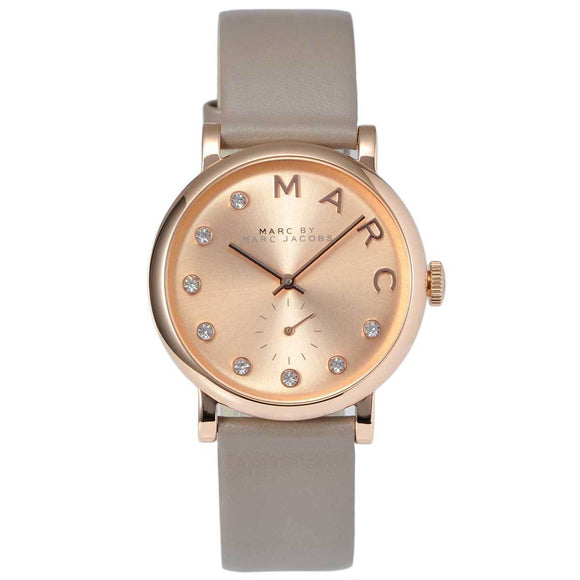 Marc Jacobs MBM1400 Baker Rose Gold Glitz Dial Grey Leather Band