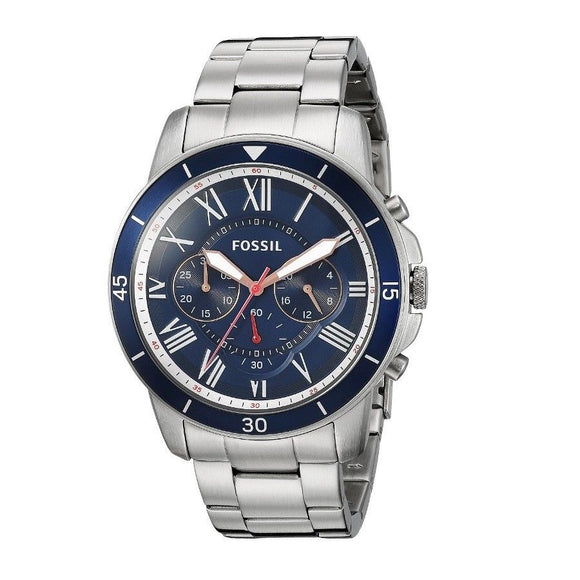 Fossil FS5238 Grant Silver Blue Dial Stainless Steel Chronograph