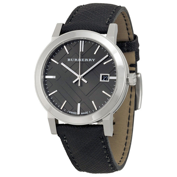 Burberry BU9030 The City Silver Check Black Dial Polyvinl