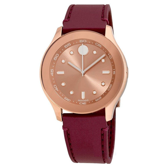 Movado 3600429 Bold Rose Gold White Accents Burgundy Red Rubber Band Swiss