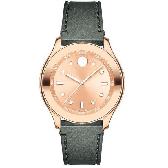 Movado 3600438 Bold Rose Gold Dial Gray Silicone Band Swiss