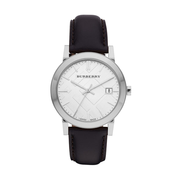 Burberry BU9008 The City Silver Check Black Leather Classic