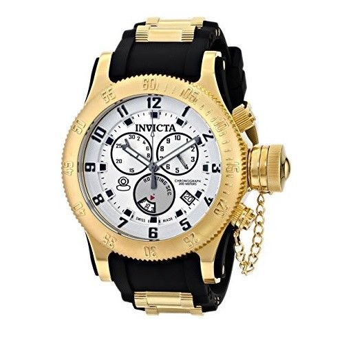 Invicta 15561 Russian Diver Gold Black Silicone Band Chrono Mens Watch