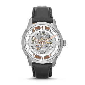 Fossil ME3041 Townsman Silver Rose Black Leather Automatic Skeleton