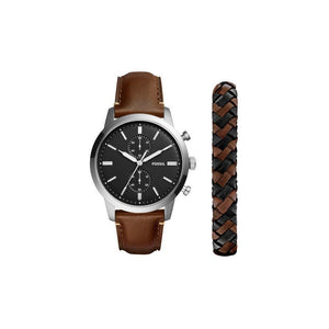 Fossil FS5394SET Townsman Silver Brown Leather Bracelet Box Set Black Dial
