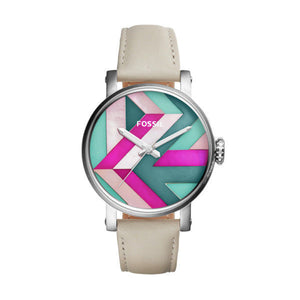 Fossil ES4200 Boyfriend Silver White Ivory Leather Multi Color Dial