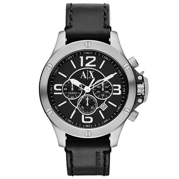 ARMANI EXCHANGE AX1506 Street Black Leather Silver Dial Chrono