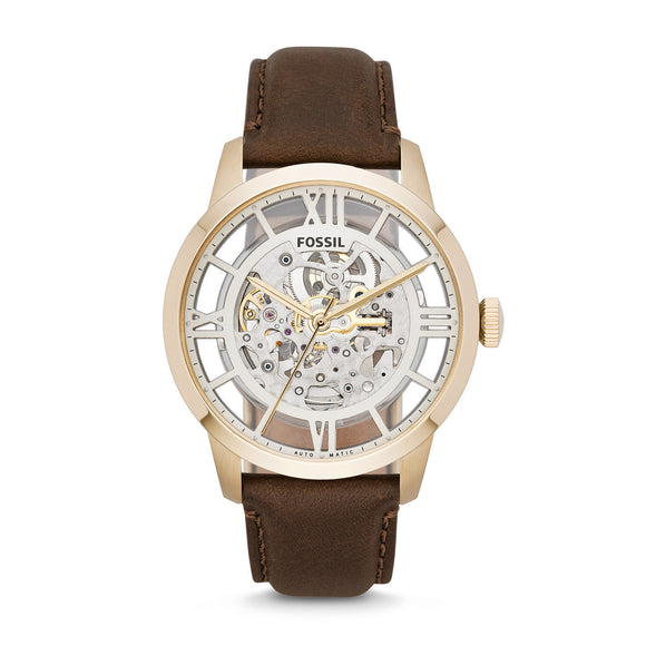 Fossil ME3043 Townsman Gold Brown Leather Automatic Skeleton