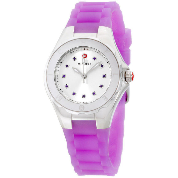 Michele MWW12P000009 Tahitian Jelly Bean Silver Purple Silicone Band