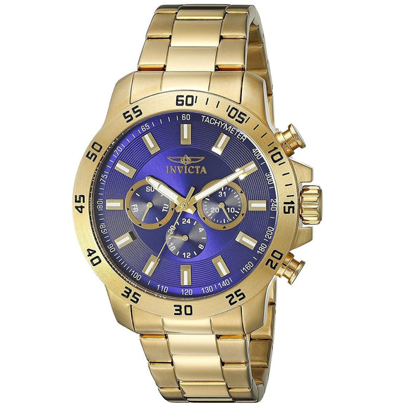 Invicta 21504 Specialty All Gold Navy Blue Dial Chronograoh