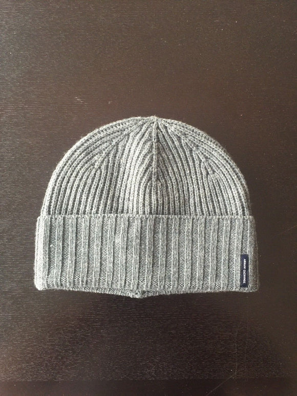 ARMANI EXCHANGE Grey Knit Cuff Logo Patch Wool Beanie Skull Hat A|X