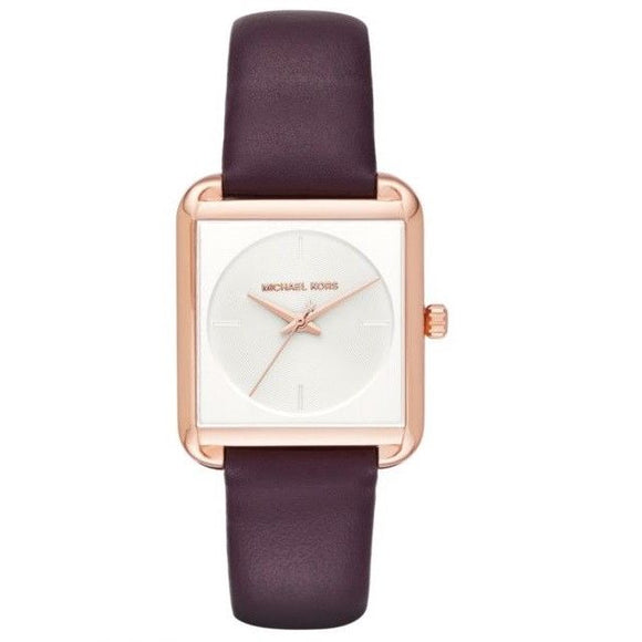 Michael Kors MK2585 Lake Rose Gold Squared Plum Leather Band White Dial