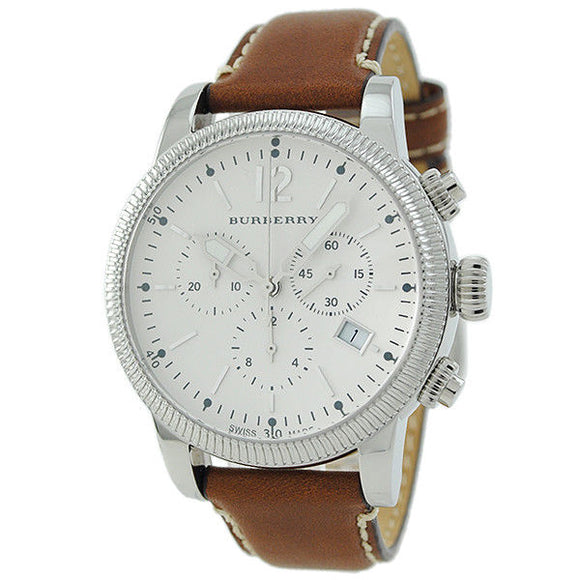 Burberry BU7817 The Utilitarian Stainless Brown Tan Leather Swiss Chrono