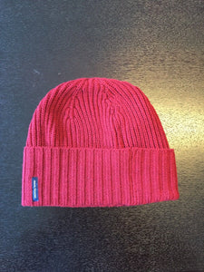 ARMANI EXCHANGE Red Knit Cuff Logo Patch Wool Beanie Skull Hat A|X NWT