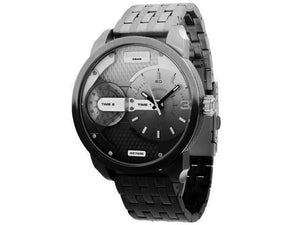 Diesel DZ7330 Mini Daddy Two Tone Silver Black Dual Time Stainless Steel