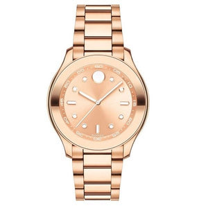 Movado 3600417 Bold Rose Gold White Accents Stainless Steel Band Swiss