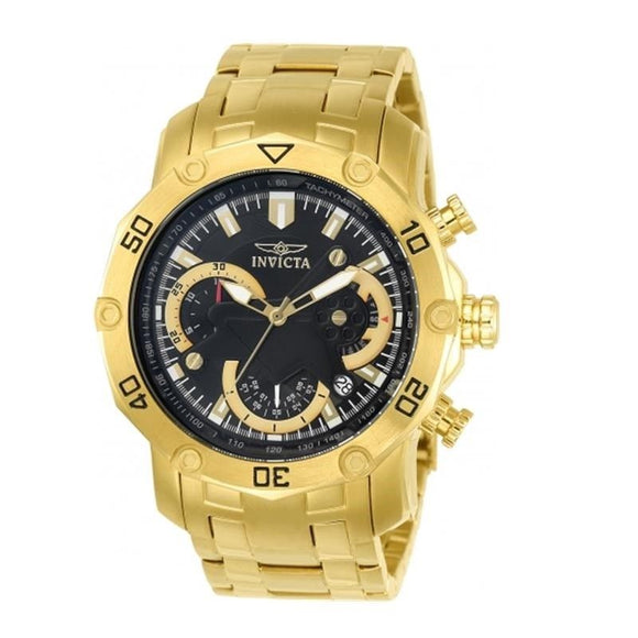 Invicta 22767 Pro Diever All Gold Black Dial Chrono Stainless Steel