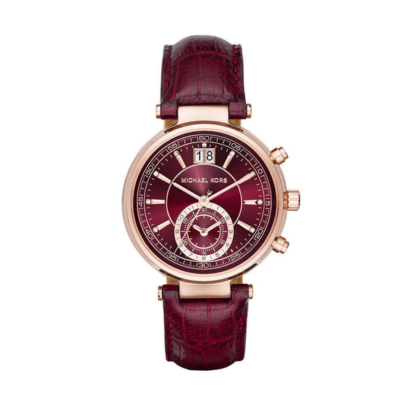 Michael Kors MK2426 Sawyer Gold Burgundy Croc Embossed Leather Red 39MM NEW