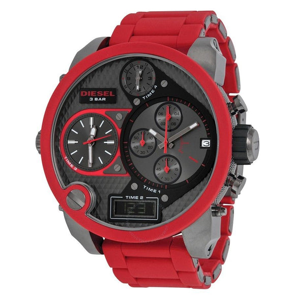 Diesel DZ7370 Mr Daddy Oversized Gunmetal Dial Red Silicone Band