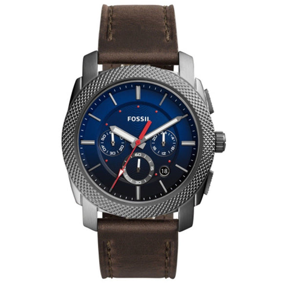 Fossil FS5388 Machine Gray Brown Leather Band Blue Dial Chrono