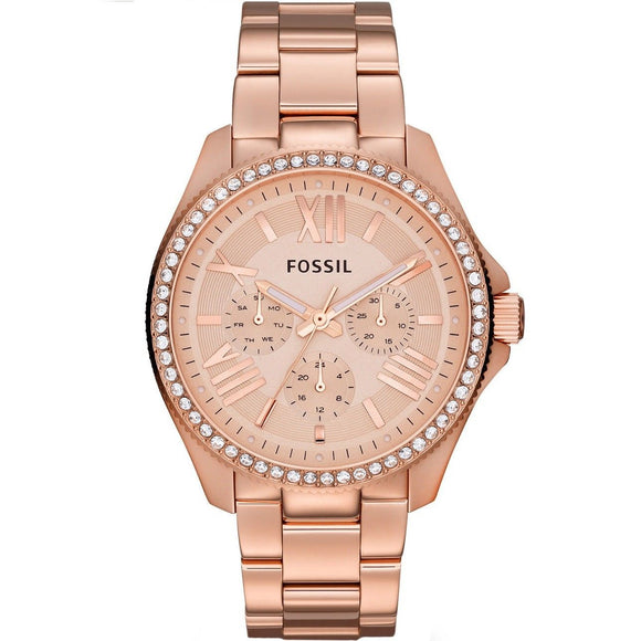FOSSIL AM4483 Cecile All Rose Gold Glitz Bezel Chrono Stainless Steel