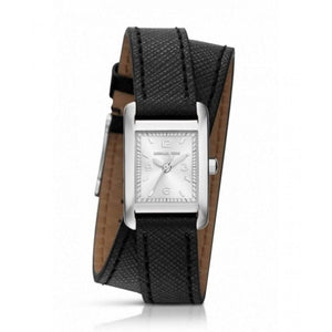 Michael Kors MK2497 Taylor Silver Wrap Black Leather Square