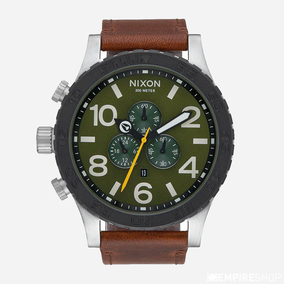 NIXON 51-30 Chronograph Surplus Brown Leather Green Dial
