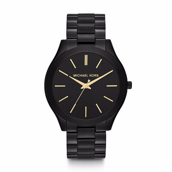 Michael Kors MK3221 Slim Runway Black Ion Stainless Gold Accents