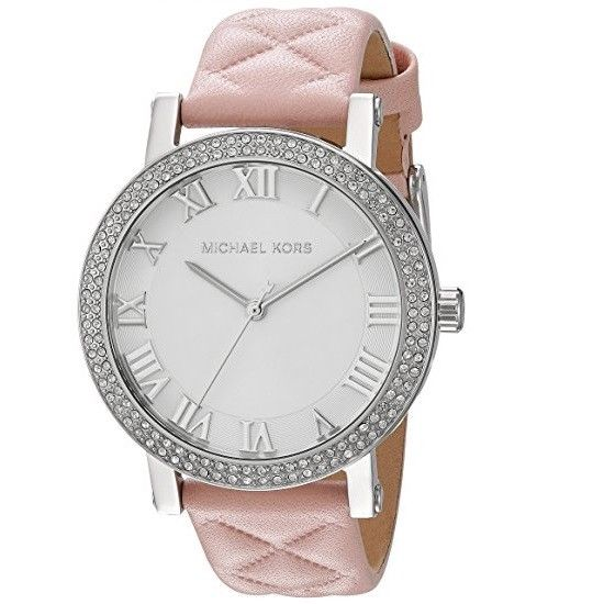 Michael Kors MK2617 Norie Pink Embossed Leather Band Silver Dial