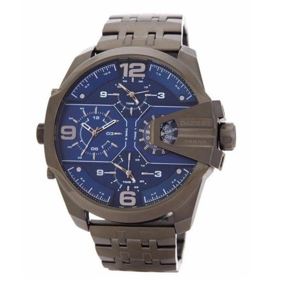 Diesel DZ7392 Uber Chief Gunmetal Blue Dial Chronograph 4 Time Zone