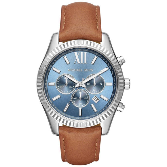 fffc34bca38f Michael Kors MK8537 Lexington Silver Blue Dial Brown Leather Band
