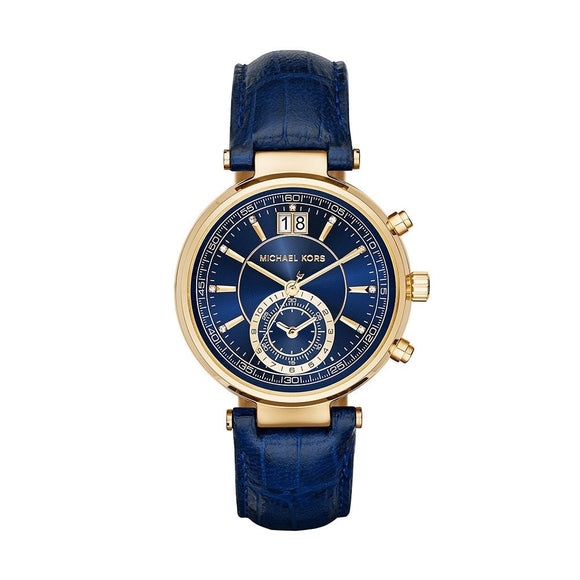 Michael Kors MK2425 Sawyer Gold Blue Croc Embossed Leather