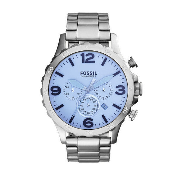 Fossil JR1509 Nate Silver Analog Digital Blue Dial Stainless Steel Chrono
