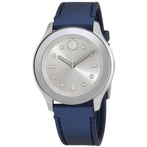 Movado 3600427 Bold Silver White Accents Blue Rubber Band Swiss