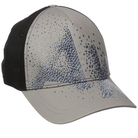 ARMANI EXCHANGE Black Gray A|X Blue Logo Cotton Adjustable Hat