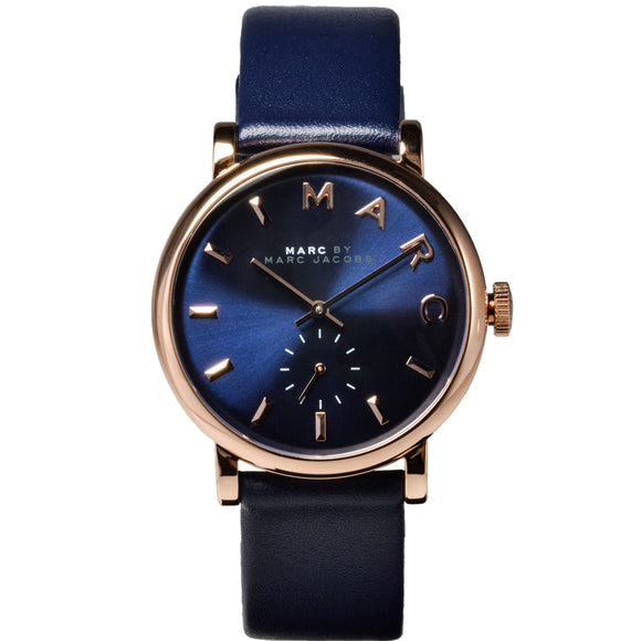 Marc Jacobs MBM1329 Baker Rose Gold Blue Leather Band Thin