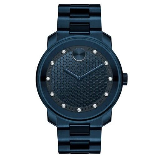Movado 3600450 Bold Navy Blue Ion Plated Diamond Hour Markers Swiss