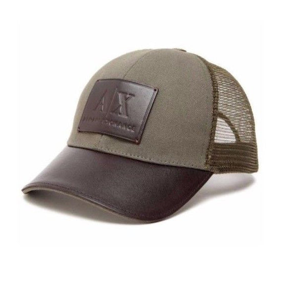 ARMANI EXCHANGE Olive Green Black Leather A|X Logo Patch Mesh Trucker Hat